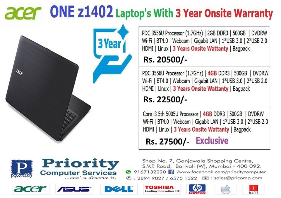 Acer Laptop With 3 Years Onsite Warranty
