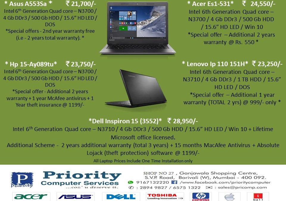 Budget Laptop Starting @ 19,900/-